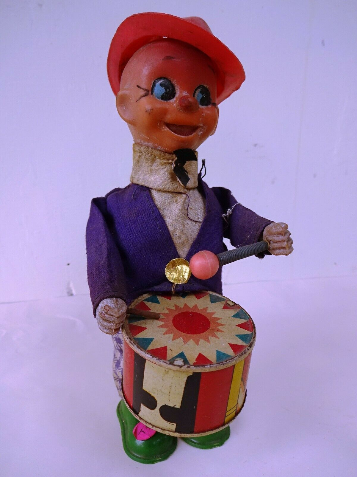 Vintage Drummer Boy Celluloid Wind Up Toy Plastic Rubber Red Cap Collectibles