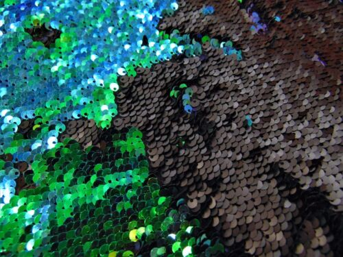 """Mermaid on Black Little Sequins Roll Over 2 Way Stretch Wedding prom 52/"""" wide"""