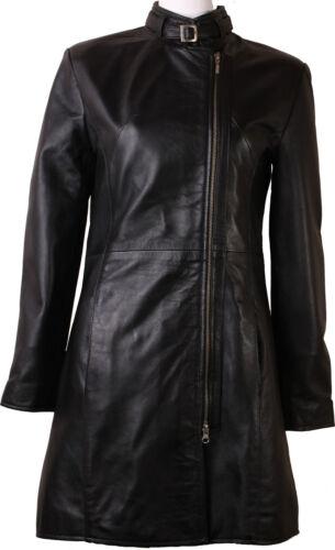 Womens Black Genuine Real leather jacket coat 3 quarter length #4Y
