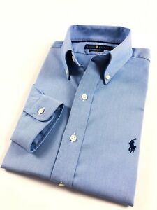 1acc98b957 Details about Ralph Lauren Shirt Men's Performance Oxford Blue Solid  Regular Fit RRP £109