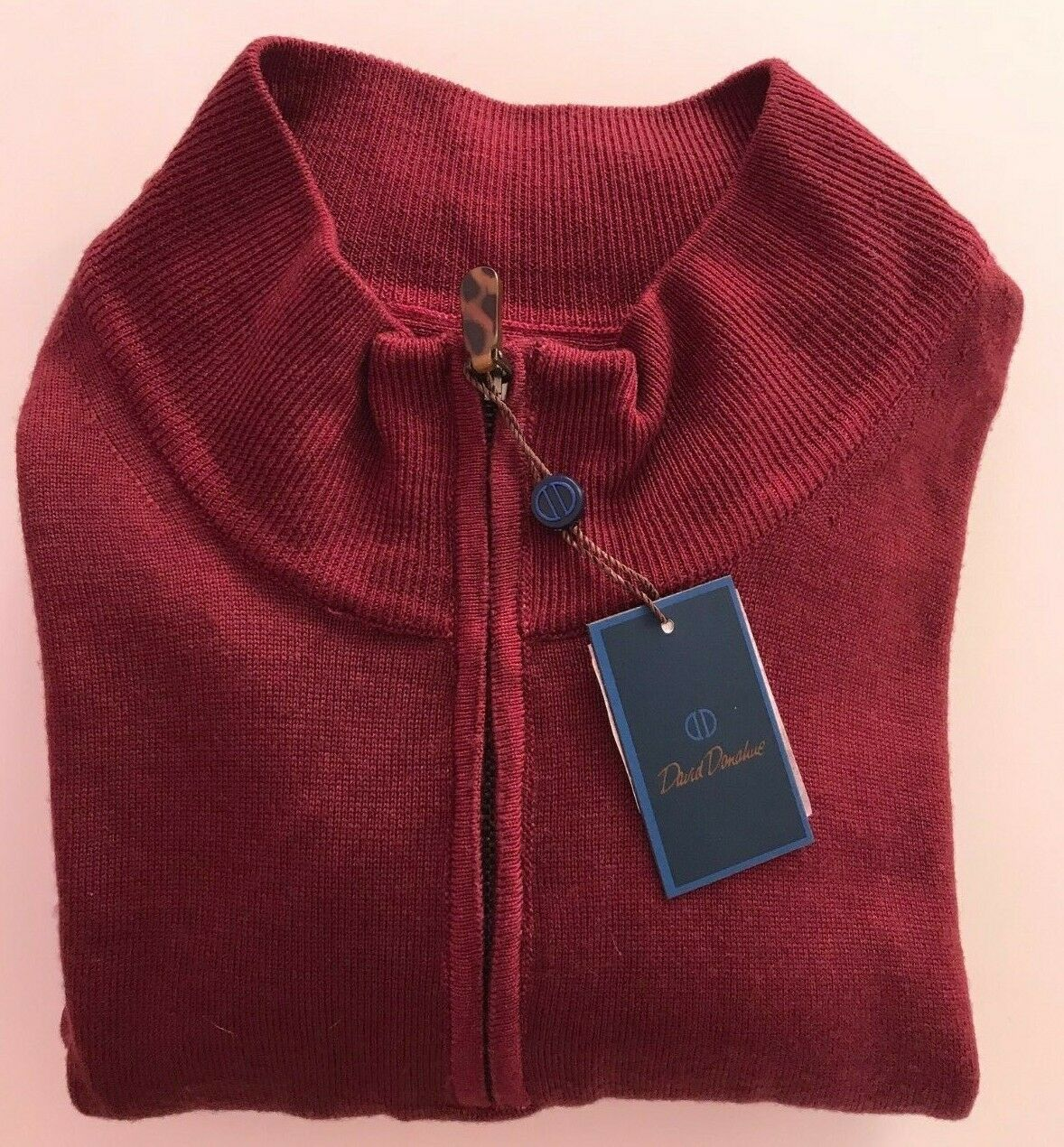 NWT David Donahue Men XL Made in  100% Wool 1 4 Zip Sweater Burgundy