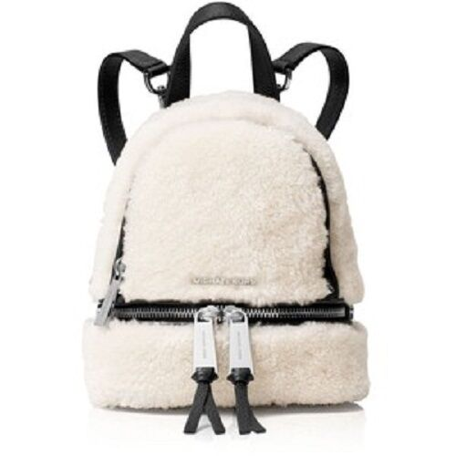 c02c09727e6a New Michael Kors Rhea Zip MINI Extra Small Messenger Backpack shearling  leather