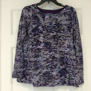 Coldwater-Creek-Top-Womens-Sz-Large-Multi-Color-Long-Sleeve-Double-Layer-Shirt