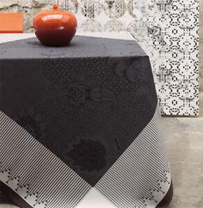"""Le Jacquard Francais Nappe """"Palais Persan"""" 175x175 coton Charcoal Black"""