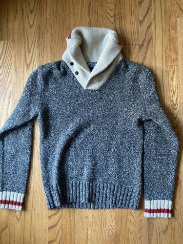 VINTAGE Polo Ralph Lauren Wool Shawl Sweater Mediu