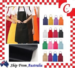 Plain-Apron-Bib-Water-Proof-Pocket-Butcher-Waiter-Chef-Kitchen-Cooking-Craft