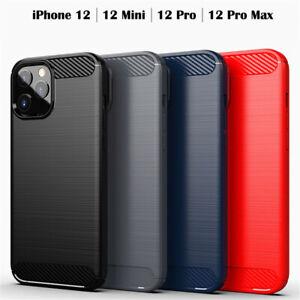 Dettagli su Custodia cover morbida per Apple iPhone 12 / Mini / Pro Max in fibra di carbonio
