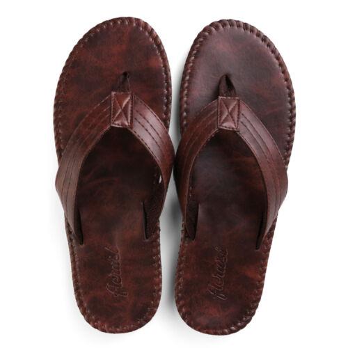 Mens Summer Leather Anti-slip Flat Flip Flops Beach Slipper Sandals Casual Shoes