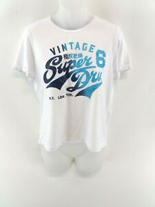 Haut-Femme-Superdry-T-shirt-homme-S-S-Blanc-coton-amp-polyester