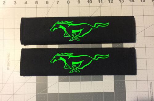 Custom Embroidered Ford Mustang Design Black Seat Belt Cover Set New Item!