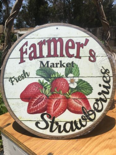 Farmers Market Fresh Strawberries Round Sign Vintage Garage Bar Decor Old Rustic