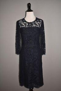 ESCADA NEW $1995 Drixana Lace Sheath Dress in Navy DE 34 / US 4