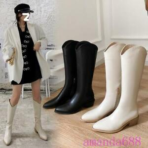 Fashion Womens 5cm High Heels Tall Boots Cowboy Leather Boots Western Shoes Size