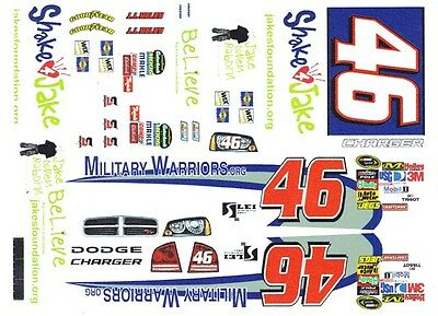 1/25th Scale Waterslide Decals Nascar Automotive #46 Jj Yeley Military Warriors.com 1/24th