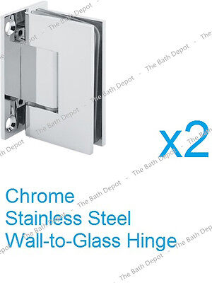 """SUNNY SHOWER 90 Degree Stainless Steel Wall-to-Glass Clip - 3/8"""" frameless glass"""