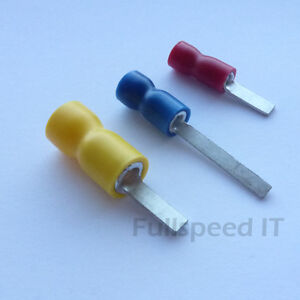 100 x INSULATED BLUE 16A 6.3 x 0.8mm FEMALE PUSH ON CRIMP CONNECTORS BLADE SPADE