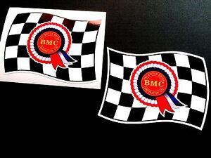 BMC-Rosette-Flags-Classic-Retro-Car-Stickers-all-Mini-fans-2-off-90mm-each