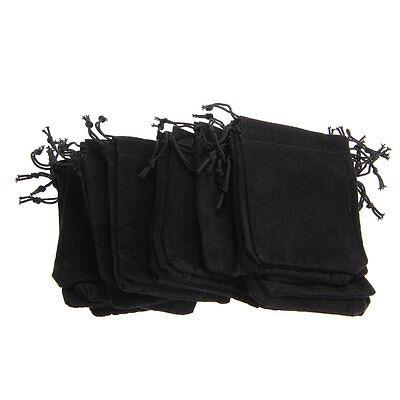 25 X Black Velvet Drawstring Jewelry Gift Bags Pouches HOT