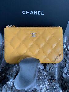 e980ab674600 NWT CHANEL Yellow Caviar Mini O-Case ZIP Beauty CC Pouch 2019 19C ...