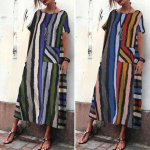 Sommer-Damen-Gestreift-Streifen-Kurzarm-Freizeit-Loose-Partykleid-Abendkleid