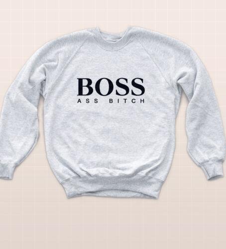 Sweat Jumper Ratchet Rap Urban Off Swag Slogan Boy Girl Sweater Boss Ass Bitch