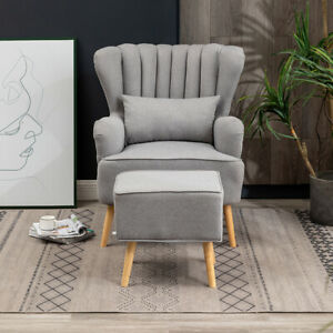 Grey Linen Fabric Armchair Shell Back Reading Sofa Cushioned Chairs W Footstool Ebay