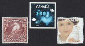 DOVE-Bird-3-Millennium-stamps-fr-SS-inc-HOLOGRAM-Canada-1999-1812-14-MNH