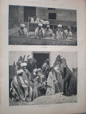 Sketches in Cairo Mat Makers & dance of the Stick 1883 old prints Egypt