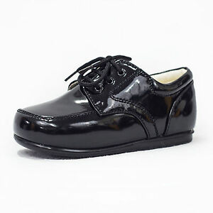 Baby-Boys-Black-Patent-Shoes-Formal-Smart-Lace-Up-Wedding-High-Quality-1-10