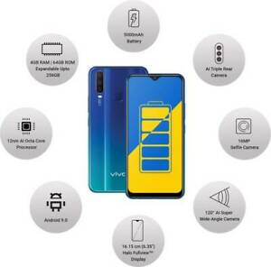 Details About Vivo Y15 Blue 64gb 4gb Ram 6 35 Inch 13mp 8mp 2mp Dual Sim Googleplay Phone