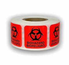 Brred Biohazard Dot Shipping Warning Caution Labels 1x1 500roll