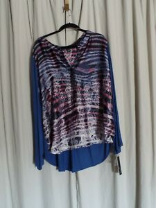 Womens-top-blouse-shirt-Size-3X-Apt-9-Geometric-Print-NWT