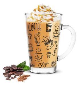 6-Latte-Macchiato-Glaeser-300ml-Kaffeeglaeser-Teeglas-schwarzer-Aufdruck