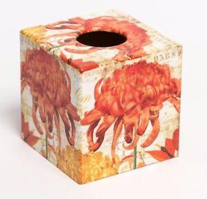 Geranium  Flower Tissue Box Cover wooden handmade decoupaged in the UK