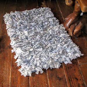 Rag-Rug-Shaggy-Indian-Vintage-Silk-Crepe-Recycled-Fair-Trade-Blue-Mat