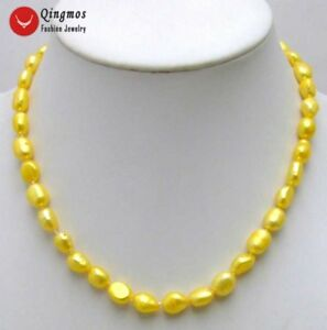 7-9mm-Yellow-Baroque-Natural-Freshwater-Pearl-Necklace-for-Women-17-034-Chokers
