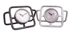 """""""pritchard Hill"""" Contemporary Tubulaire Style Bureau Horloge-argent-afficher Le Titre D'origine"""