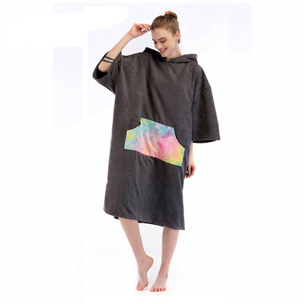 Poncho De Microfibra Albornoz Bata de cambio de toalla de baño F Surf Jugara Kayak Swim