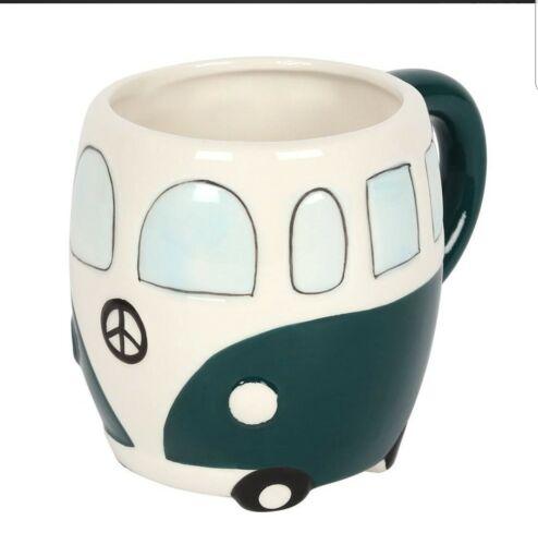 VW Camper Van Mug Camping-Car Rétro Fantaisie Cadeau Tasse à café en céramique bleu rouge Coffret