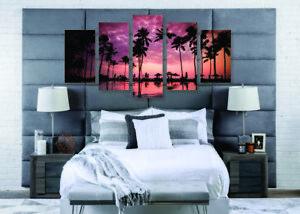 Ready To Hang Palm Tree Wall Art Sunset Home Decor Palm Trees Canvas Print Set