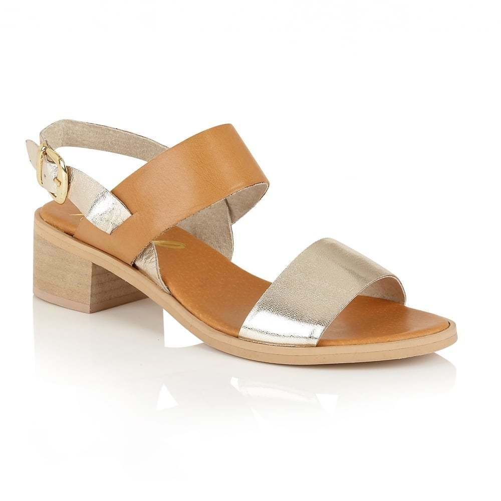 Último gran descuento Ravel Quincy Tan/Gold Leather Block Heeled Sandals NEW  65 Size 8