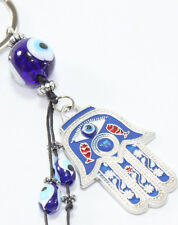 "Turkish Blue Evil Eye 2"" Hamsa Hand Keychain Blessing Protection Religious Gift"