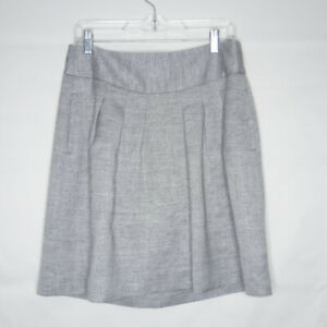 The-Limited-Pleated-Skirt-Women-Size-M-Gray-Pockets