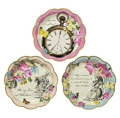 72 x Vintage Style Truly Alice in Wonderland Paper Plates Mad Hatters Tea Party