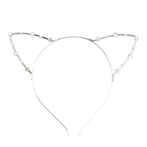 20x Cat Ear Party Pearl Rhinestone Headband Punk Hair Wrap Silver S6Q6
