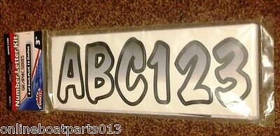 "BLACK SHADED BOAT LETTERS AND NUMBERS,STICKERS,NUMBER KIT 3 1//2/"" INCH BLUE"