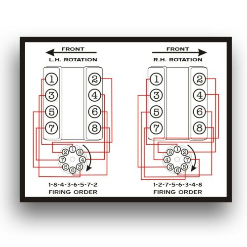 Marine Dual Inboard Engines FIRING ORDER DECAL GM 305 350 383 454 496 502 5.7L