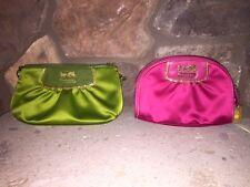 Coach Authentic Amanda Satin Purse/Clutch/Wristlet (Green) + Cosmetic Bag (Pink)