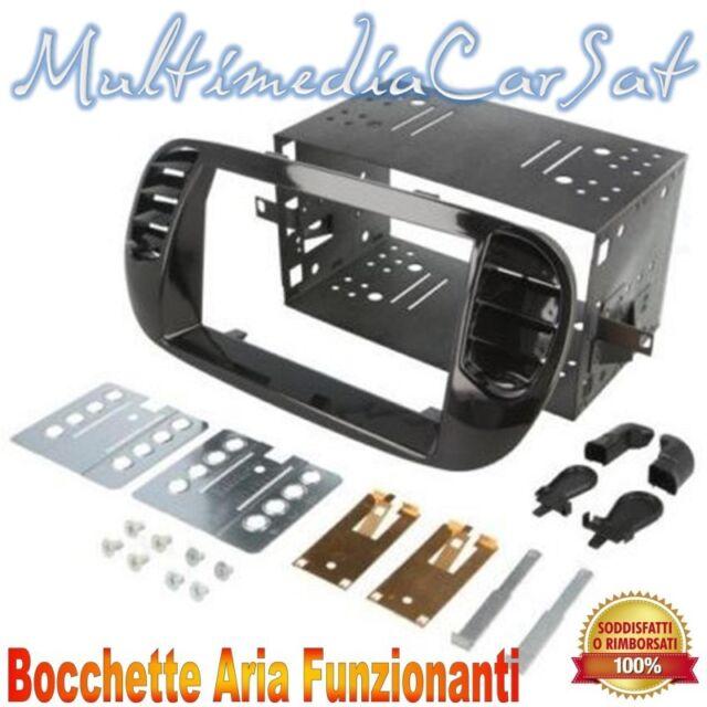 Mascherina Autoradio Fiat 500 fino al 2016 Nero Lucido Kit Completo 3578