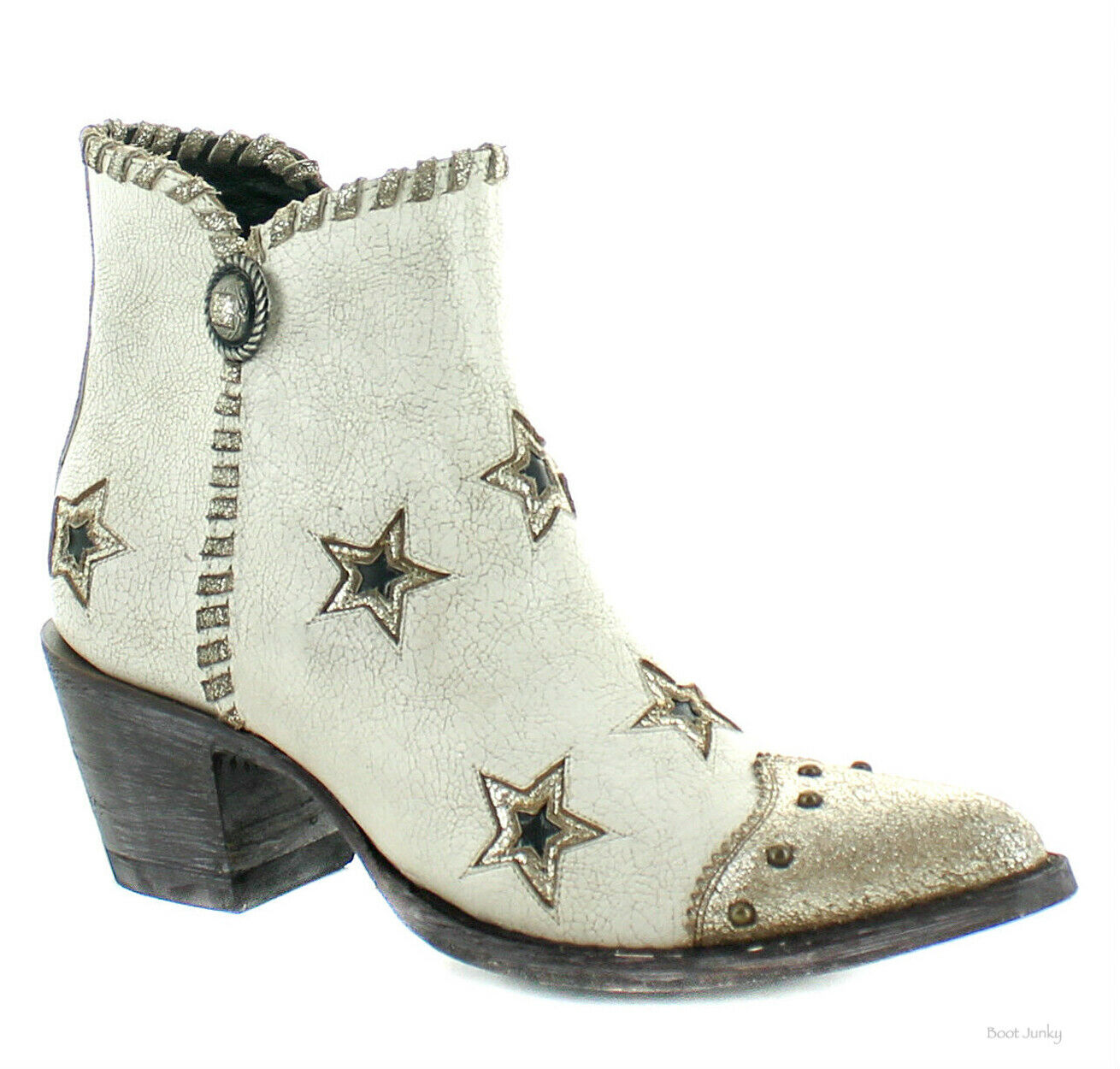 YBL357-1 OLD GRINGO YIPPEE GLAMIS CRACKLED MILK gold STAR BOOTS
